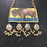 Buffalo Animal Cracker Tin Necklace with Vintage Beads