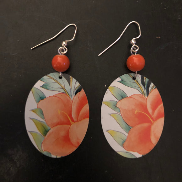 Orange Flower with Green Leaves Tin Earrings with Beads