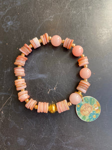 Pink Shell and Quartz with Gold Tin Charm Bracelet