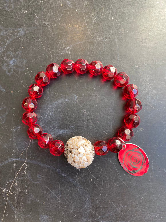 Red Glass and Reclaimed Shell Bead Tin Charm Bracelet
