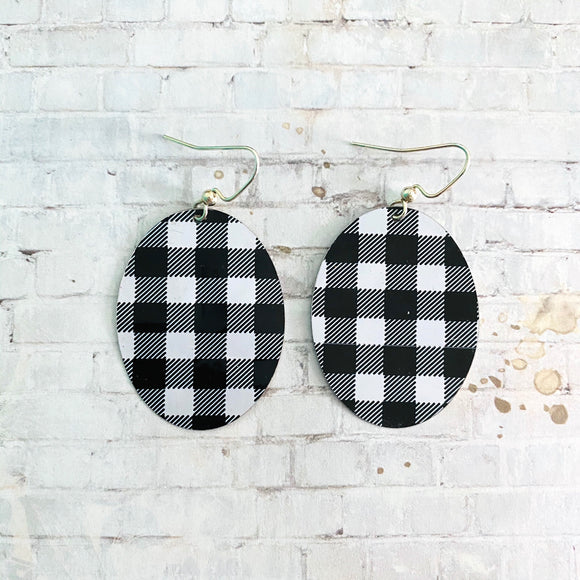 Black and White Buffalo Check Oval Tin Earrings