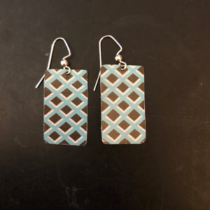 Pickett Fence Rectangle Tin Earrings