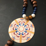Boho Blue an Wheat Long Wood and Glass Beaded Tin Necklace