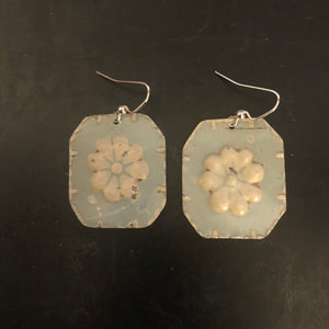 Light Blue with White Flower Tin Earrings
