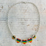 Five Tiered Rainbow Heart Circle Tin Necklace