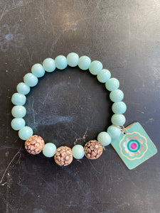 Light Blue Glass Beads with Carved Wooden Bead Tin Charm Bracelet