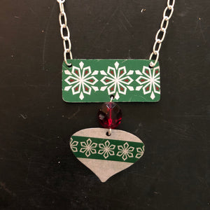 Green and White Snowflake Tin Necklace with Bead