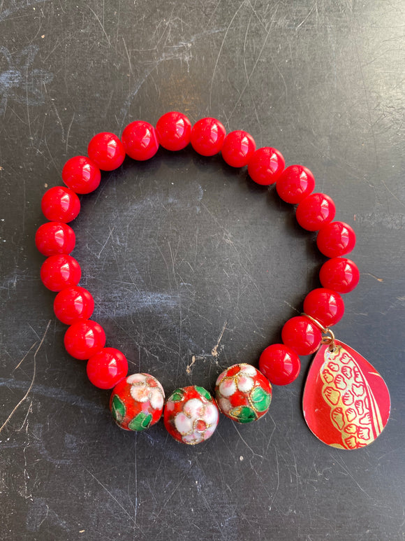 Red Glass and Cloisonné Bead Tin Charm Bracelet