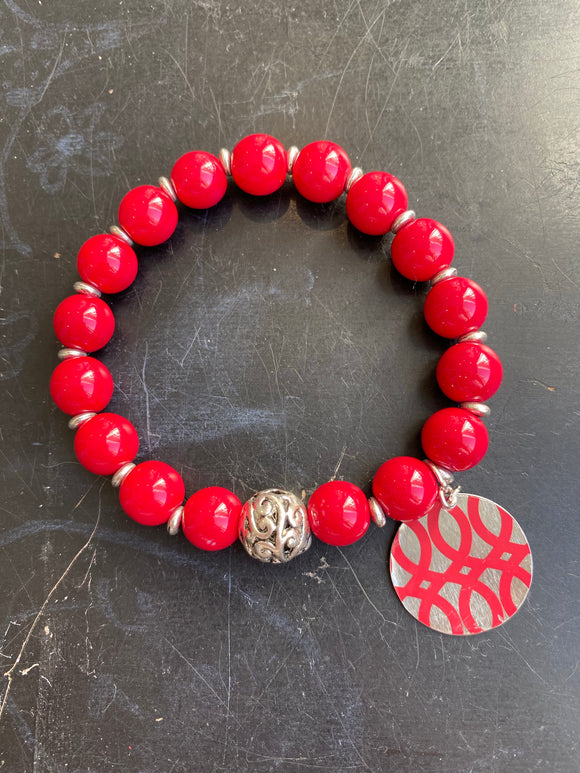 Red Glass and Silver Bead Tin Charm Bracelet