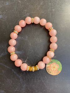 Pink Quartz and Gold Rhinestone Floral Tin Charm Bracelet