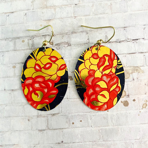 Coral and Gold Floral Tin Earrings