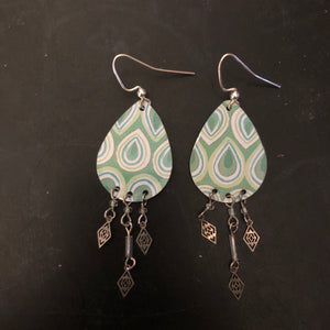 Green and Blue Teardrop Tin Earrings with Long Beads