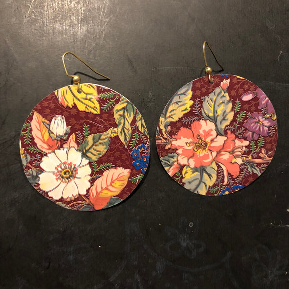 Large Brown Autumn Floral Circles Tin Earrings