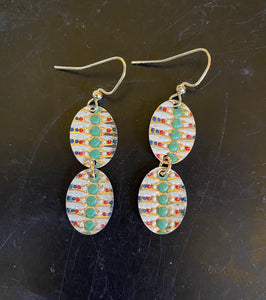Tiered Art Deco Green Dots Vines Tin Earrings