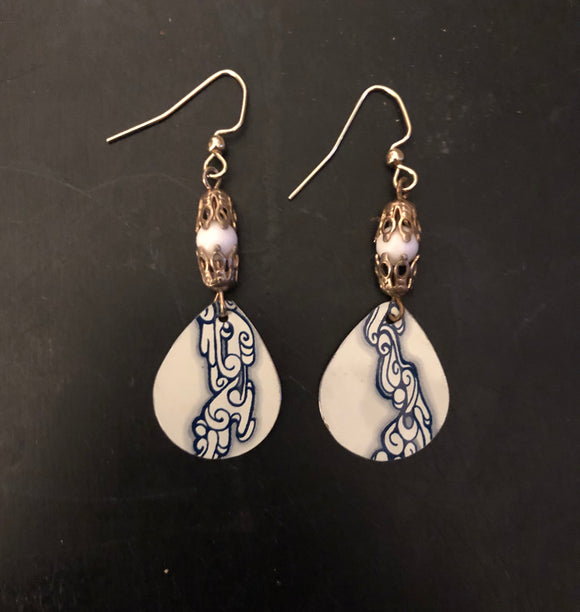 Smoky Clouds Tin Earrings with Beads