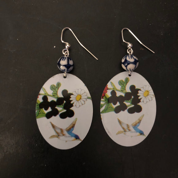 Flower Oval with Blue Bird Tin Earrings with Beads