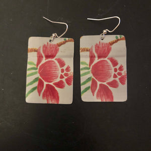 Pink Hibiscus Rectangle Tin Earrings