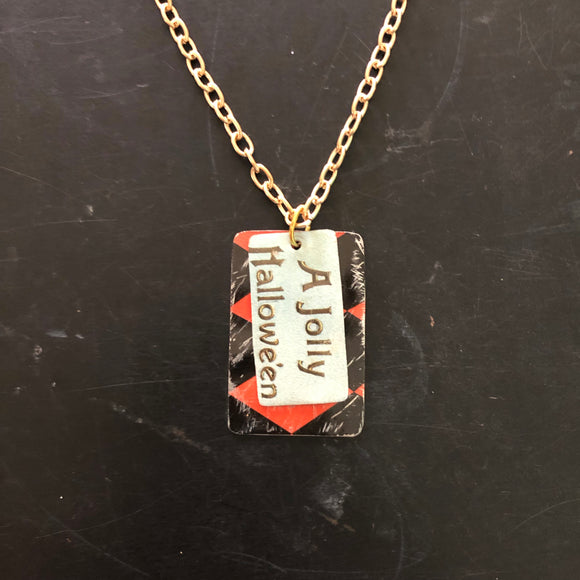 Jolly Halloween Tin Necklace