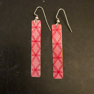 Pink and Red Slim Tin Earrings
