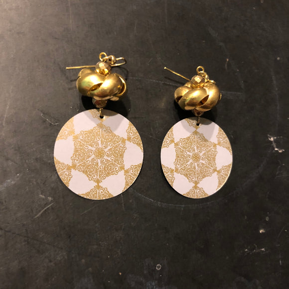 Vintage Brass and Cream and Gold Circle Tin Earrings