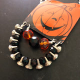 Smiley Pumpkin Tin Necklace with Beads