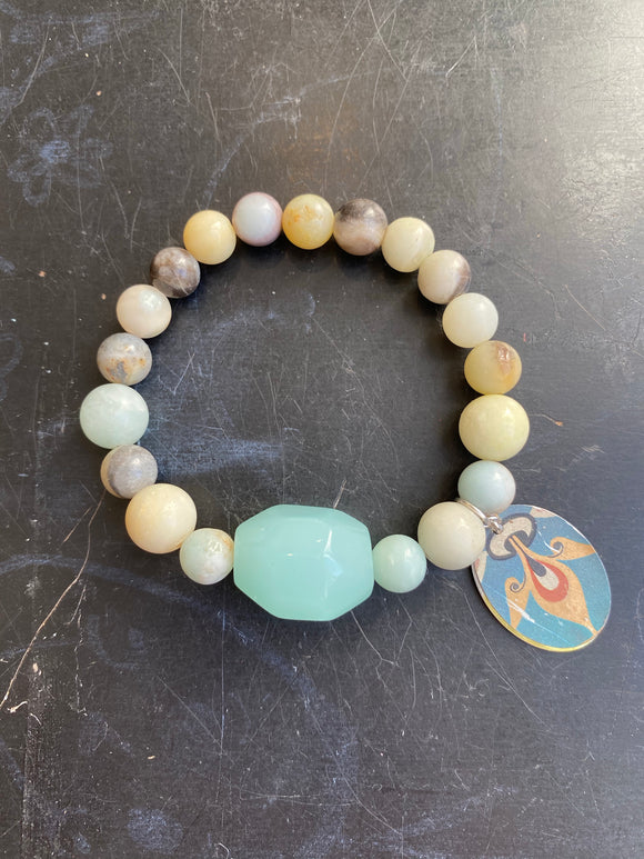 Amazonite and Blue Glass Bead Tin Charm Bracelet