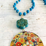 Multicolored Floral Circle Tin Necklace with Lucite Bead