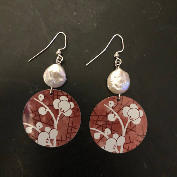 Red Cherry Blossom Circle Tin Earrings with Freshwater Pearls
