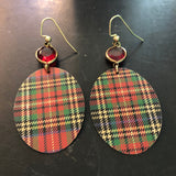 Large Classic Plaid Tin Earrings with Bead