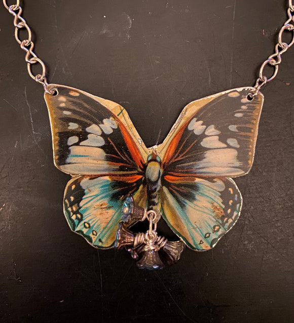 Common Jay Butterfly Tin Necklace with Beads