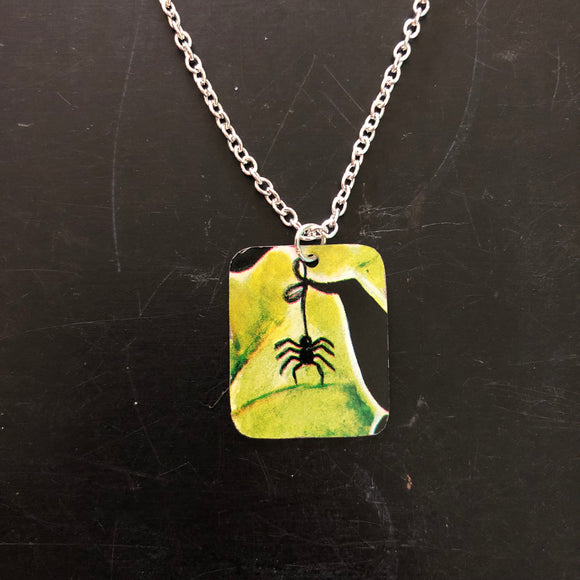 Black Spider Tin Necklace