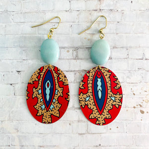 Red and Tan Tapestry Oval Tin Earrings with Bead