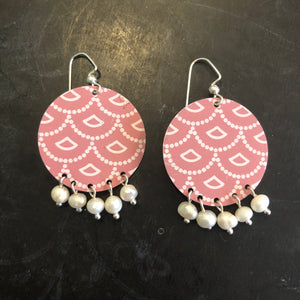 Pink Art Deco Circle with Pearls Tin Earrings