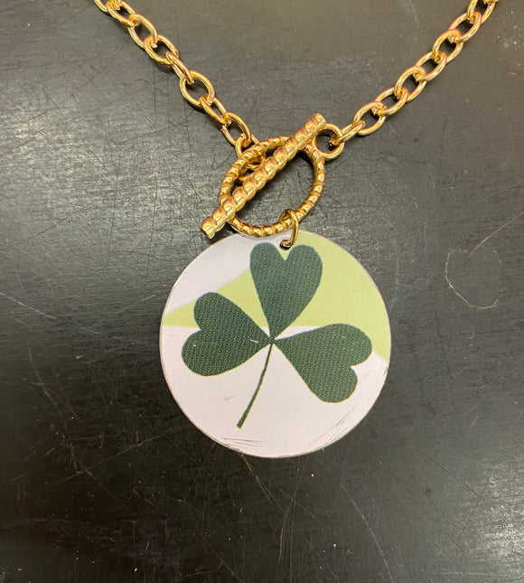 Green Shamrock Circle Tin Necklace