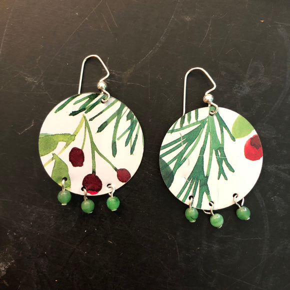 Beaded Woodland Tin Earrings