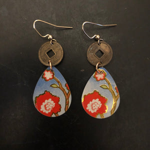 Red Floral Tin Earrings with Coin Beads