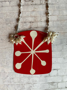Retro Snowflake with Freshwater Pearls Tin Necklace