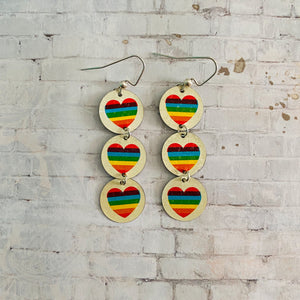 Three Tiered Small Circle Rainbow Heart Tin Earrings
