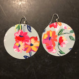 Large Turquoise Floral Circle Tin Earrings