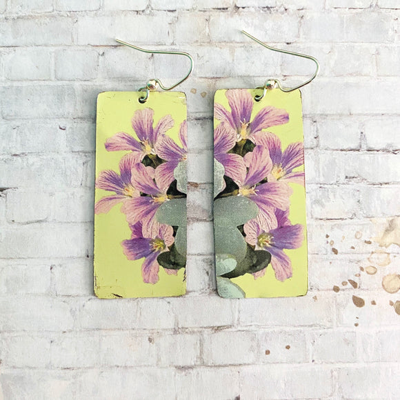 Day Lilies Rectangle Tin Earrings