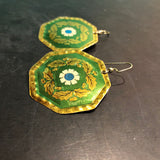 Green and Gold Medallion Tin Earrings