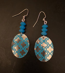 Blue and Silver Quatrefoil Oval Tin Earrings with Beads