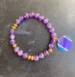 Purple Glass Bead with Gold Tin Charm Bracelet