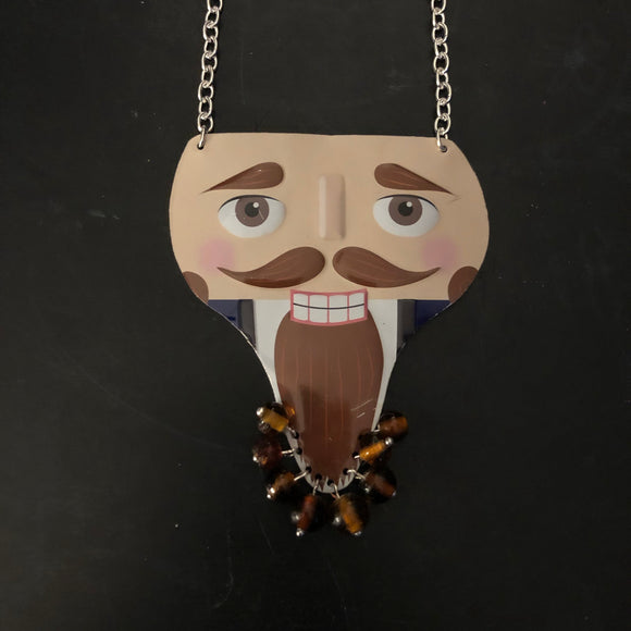 Brown Bearded Nutcracker Tin Necklace