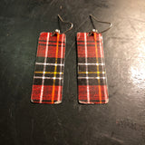 Red and Black Rectangle Tin Earrings