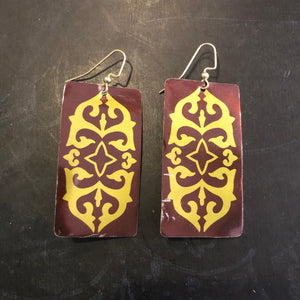 Brown and Gold Filigree Rectangle Tin Earrings