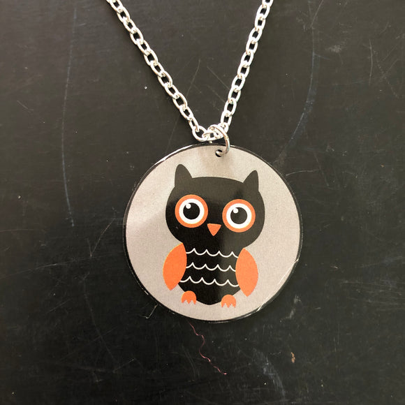 Owl Circle Tin Necklace
