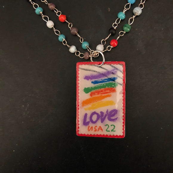 Love Stamp Tin Necklace with Beaded Strands