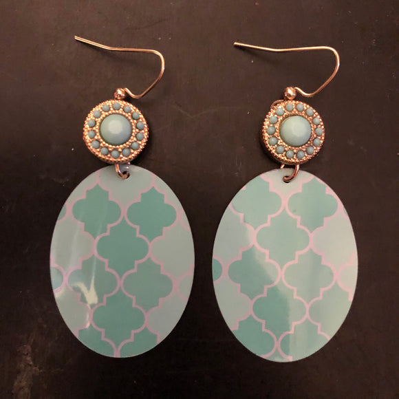 Turquoise and Aqua Quatrefoil Tin Earrings with Beads