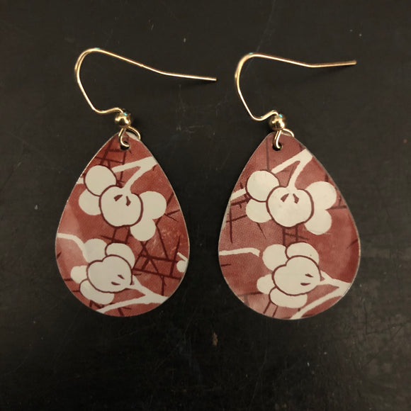 Red Cherry Blossom Teardrop Tin Earrings